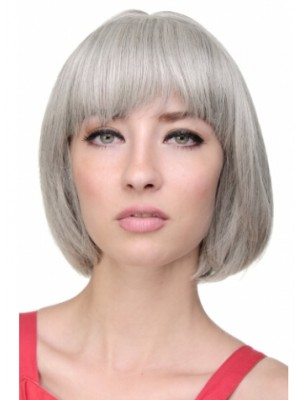 Capless Grey Short Straight Synthetic Hair Wig