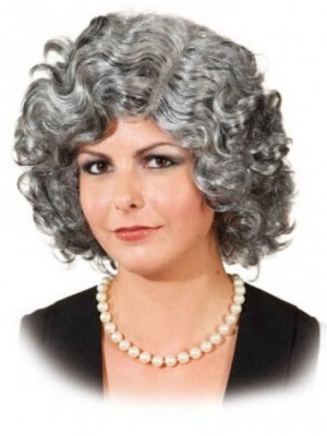 Capless Grey Short Curly Synthetic Hair Wig