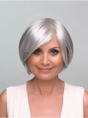 Lace Front Grey Short Straight Synthetic Hair Wig