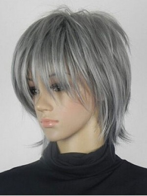 Excellent Grey Short Straight Anime Synthetic Wig