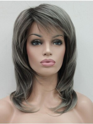 Fashion Stylish Dark Brown Medium Wavy Women Daily wig
