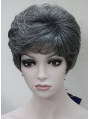 Fashion Black with Grey Middle Aged Women Elderly Natural Wig