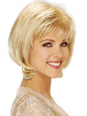 Chin Length Bob With Soft Bangs Synthetic Wig