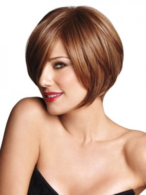 Short Synthetic Angled Bob Wig