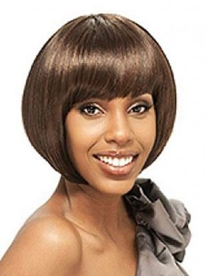 Stunning Short Straight Full Bang African American Bob Wigs