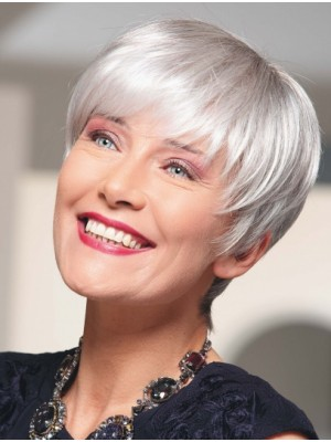 Top 100% Hand-tied Short Grey Wigs