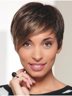 Brown Straight Short Fashionable Lace Wigs