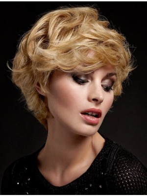 Blonde Wavy Short Cheap Lace Wigs