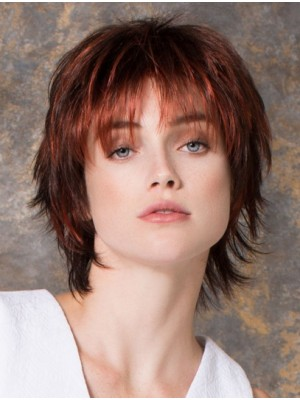 Layered Red Straight Monofilament Wigs
