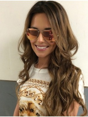 "24"" Brown Wavy Flexibility Cheryl Cole Wigs"