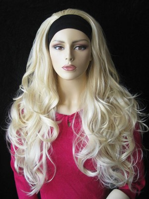 Extra Long Synthetic Tumbling Wavy 3/4 Wig
