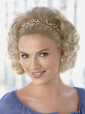 Braided Headband Synthetic Wig with Wispy Waves