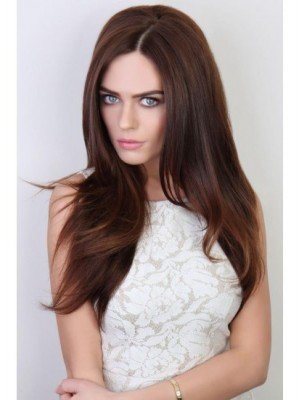 Beauty Long Sliky Straight Synthetic 3/4 Wig