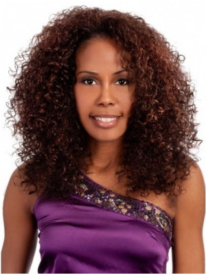 Medium Auburn Curly Synthetic African American Wigs