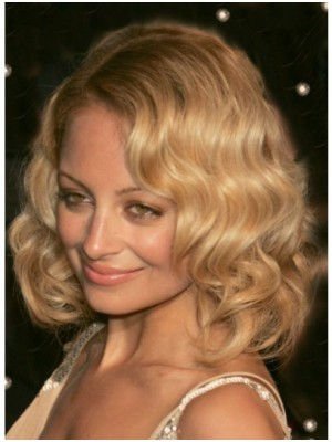 Medium Blonde Lace Front Synthetic Celebrity Wigs