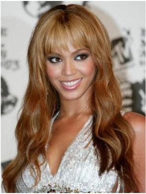 Beyonce Water Wavy Human Hair Wigs With Full Bangs