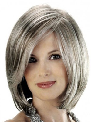 Angled Sides And Soft Beveled Nape Grey Wig