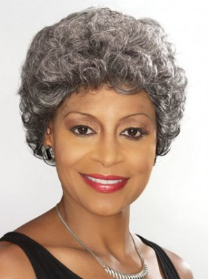 Short Curly Silver Wig