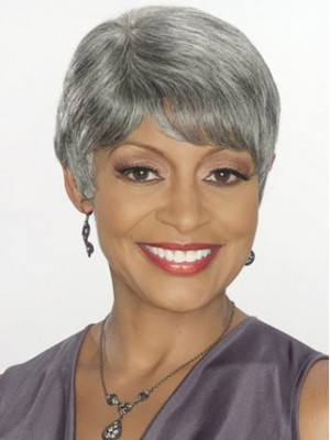 Short Straight Capless Grey Wig