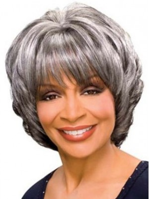 "10"" Wavy Synthetic Grey Wig"