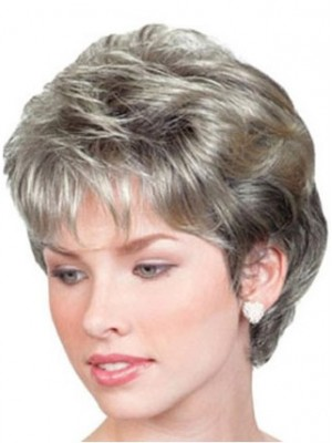 Short Wavy Lace Front Grey Wig