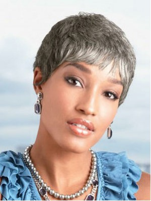 Short Synthetic Capless Grey Wig