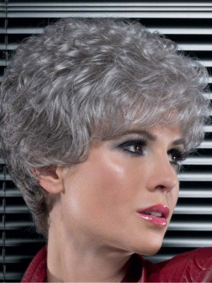 "8"" Classic Synthetic Lace Front Curly Grey Wig"