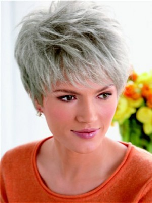 Lace Front Layered Synthetic Grey Wig