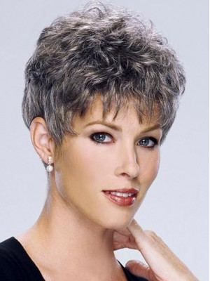 Short Curly Synthetic Capless Grey Wig