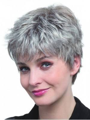 Short Pixie Style Synthetic Capless Grey Wig