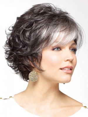 Gorgeous Soft Curly Synthetic Capless Grey Wig