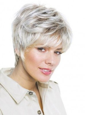 Lovely Short Layered Lace Front Grey Wig