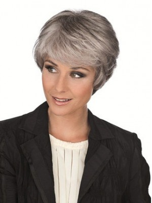Side Long Fringe Synthetic Capless Grey Wig
