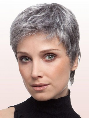 Layered Boy Cut Capless Grey Wig