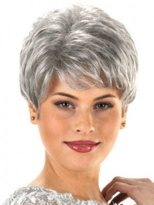 Sophisticated Layer Short Synthetic Capless Grey Wig