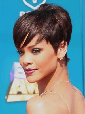 Rihanna Hairstyle Straight Short Celebrity Wig