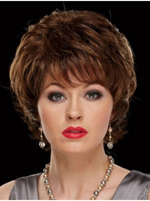 "8"" With Bangs Chin Length Wavy Fashion Synthetic Wigs"
