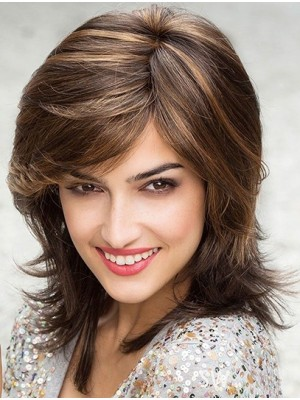 Straight Brown Layered Lace Front Shoulder Length Modern Synthetic Wigs