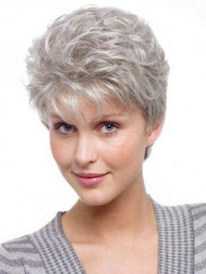 Capless Wavy Short Gray Wig
