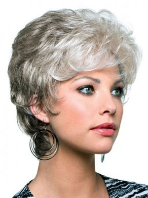 Capless Short Wavy Synthetic Gray Wig