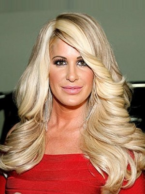 Discount Blonde Curly Chin Length Kim Zolciak Wigs