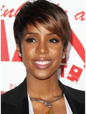 Capless Short Straight Brown Remy Human Hair